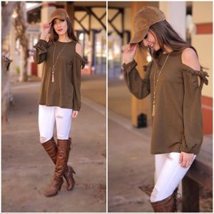 ✨LAST ONE✨Olive Cold Shoulder Bow Tie Sleeve Tunic